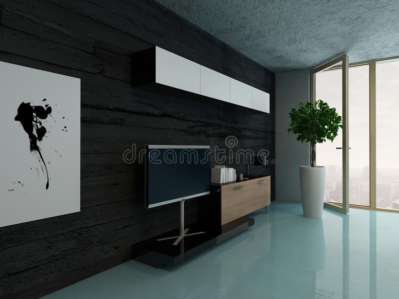 Living room interior with cupboard against black stone wall. Image of Living room interior with cupboard against black stone wall vector illustration