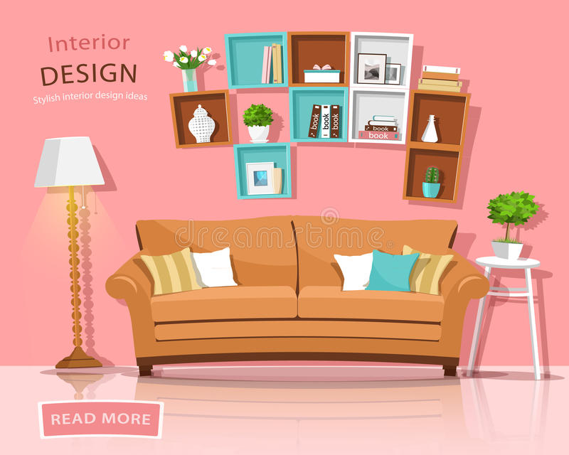 Living Room Interior Design With Couch, Lamp And Shelves. Funny ...