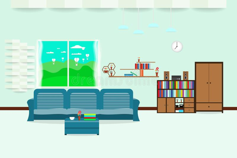 Living room interior design relax with sofa and bookshelf window sky cloud landscape meadow in wall Light Blue background. vector vector illustration