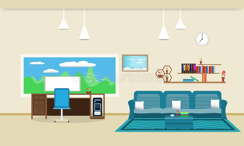 Living room interior design relax with sofa and Computer table - chair bookshelf window sky cloud landscape meadow Bird on mountai vector illustration