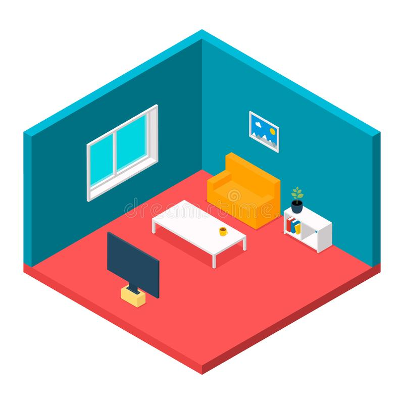 Living room interior. Entertainment home theatre table console tv set computer audio system vector isometric picture.  stock illustration