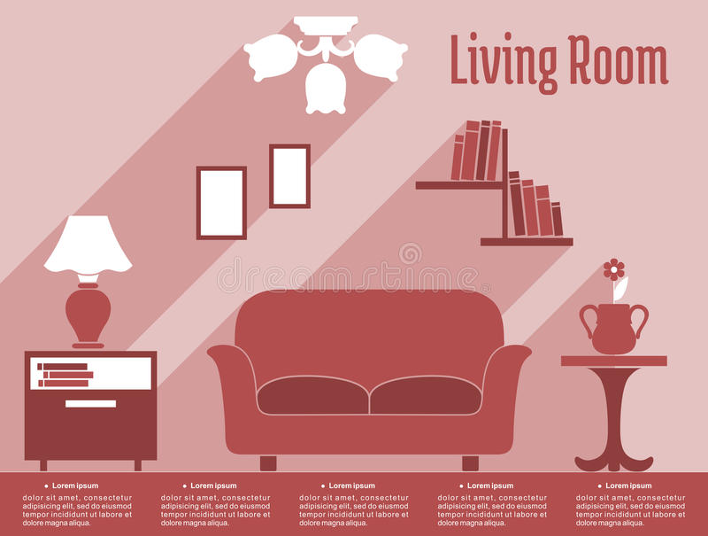 Living Room Interior Flat Infographic With Text Stock Vector ...