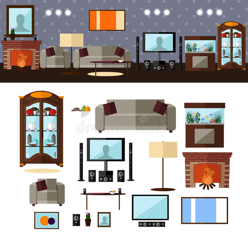 Living Room Interior With Furniture Vector Stock Vector Image 65497204