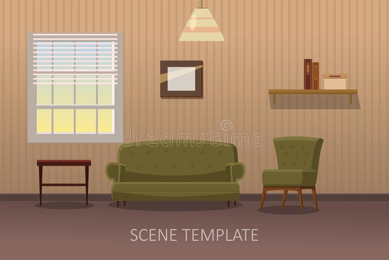 Download Living Room Interior With Furniture Vector Illustration In Cartoon Style Template Scene For
