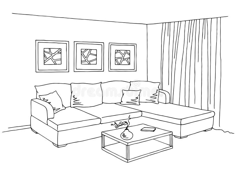 Living Room Interior Graphic Black White Sketch Illustration Stock ...