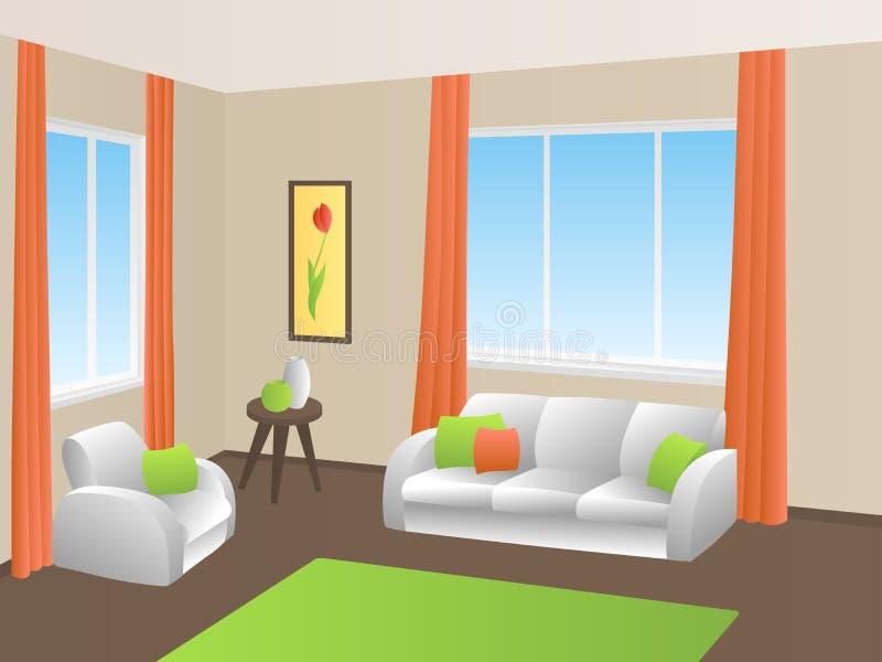 Living room interior green orange yellow white sofa armchair window illustration vector illustration