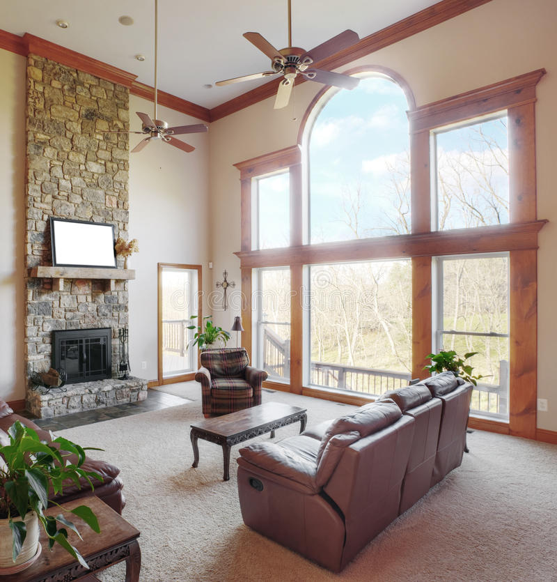 Living Room Interior With High Ceiling stock images