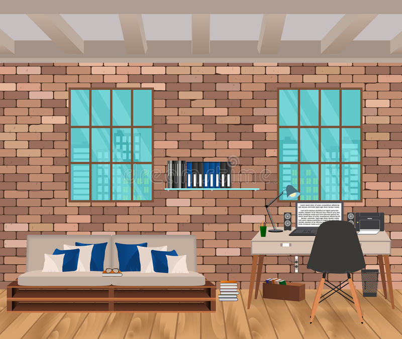 Living room interior in hipster style with brick wall, sofa, workplace, boofshelf and windows. royalty free illustration