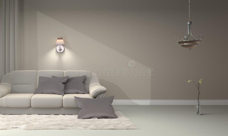 Living room interior - Modern contemporary luxury. 3D rendering stock illustration