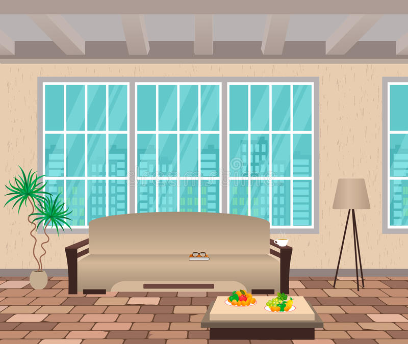 Living room interior. Modern design of domestic room with cityscape outside window, sofa, lamp and brick flooring. vector illustration