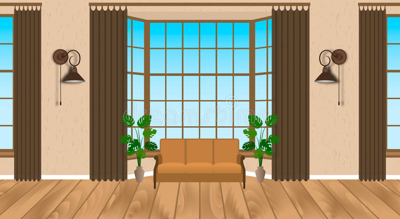 Living room interior modern design. Light loft with wooden flooring, sofa, lamps, houseplants. royalty free illustration