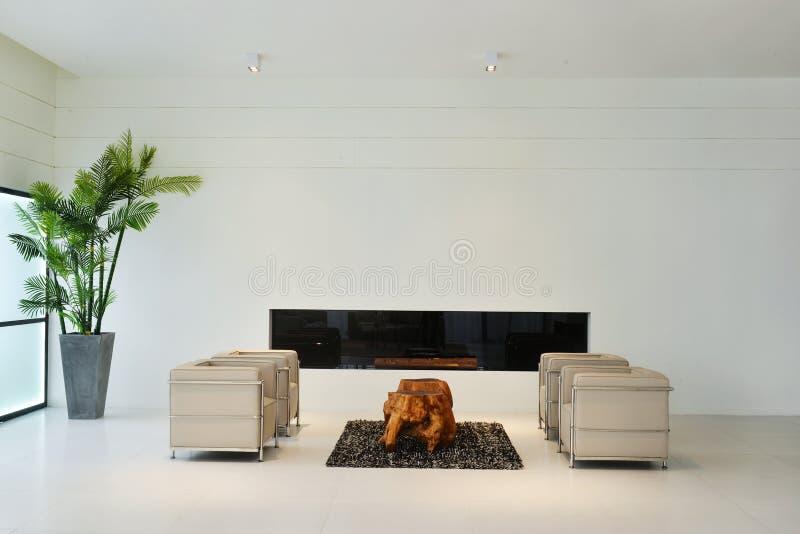 Living room interior of modern home. Living room interior for modern home wood desk on marble floor stock image