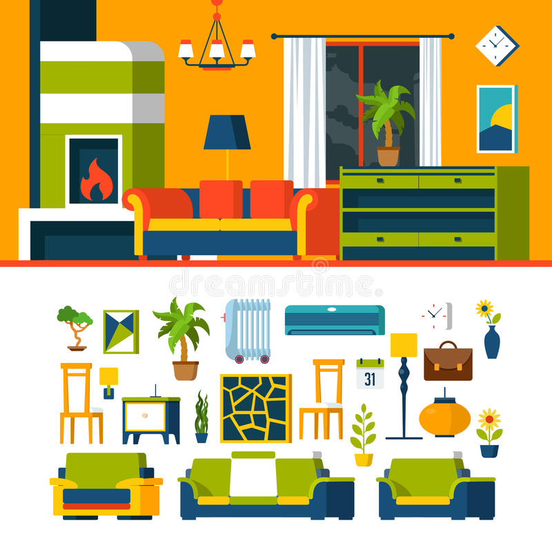 Living Room Interior Object Constructor Template V Stock Vector ...
