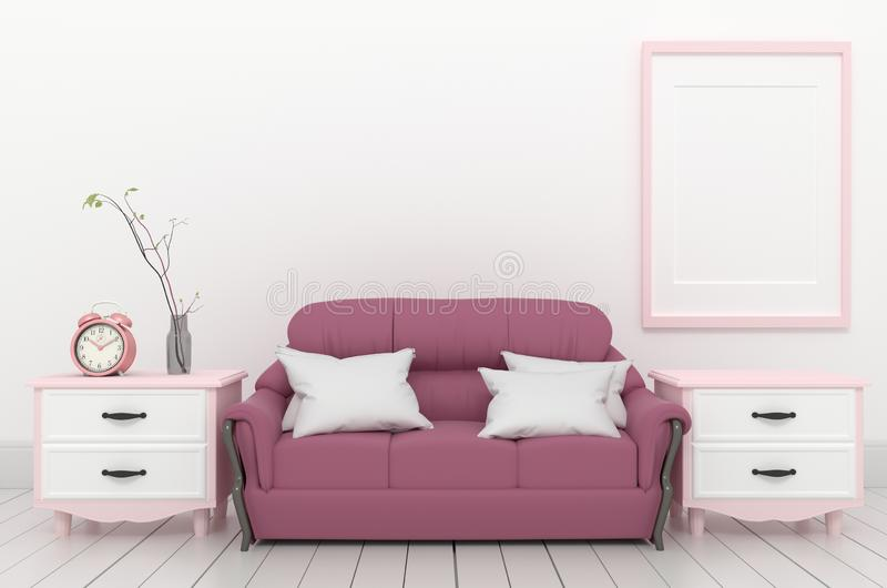 Living Room Interior - Pink elegant style with fame sofa clock and plant, white wood floor on empty white wall. 3D rendering. Mock up Living Room Interior - Pink vector illustration