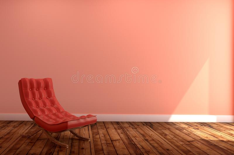 Living Room Interior with red sofa,wooden floor on empty pink wall background. 3D rendering royalty free illustration