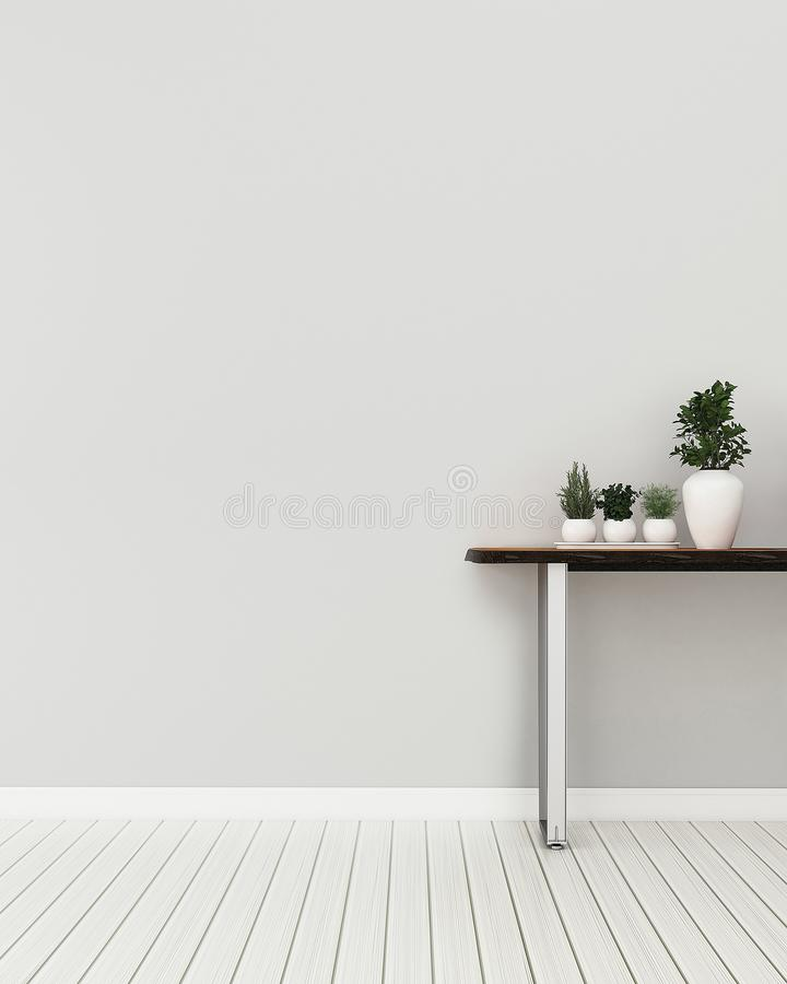 Living room interior.Relax space in condominium. Empty room with table . -3d rendering royalty free illustration