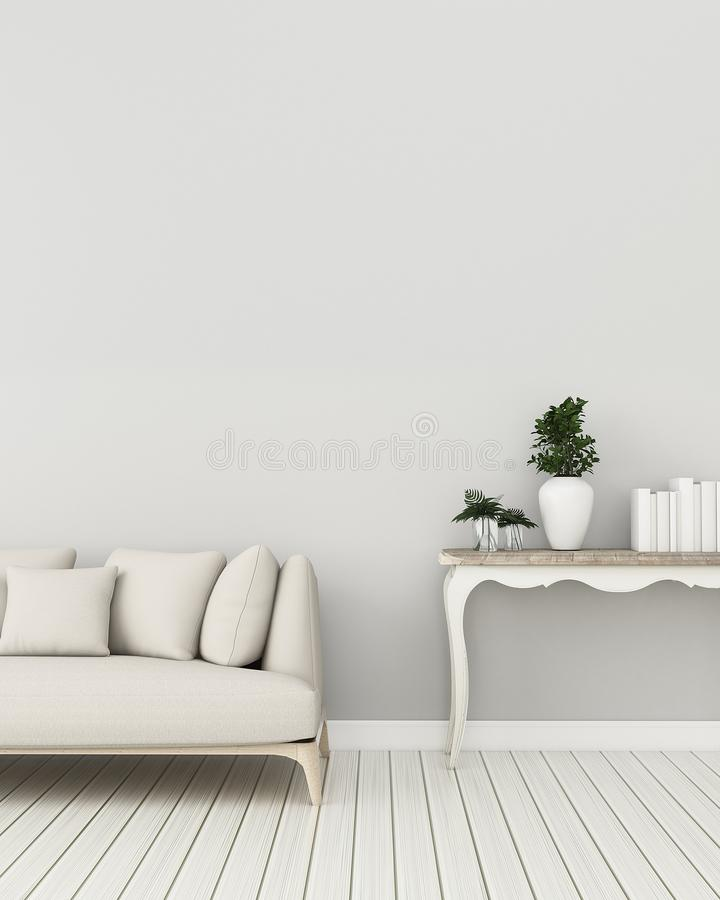 Living room interior.Relax space in condominium. Empty room with sofa and table . -3d rendering royalty free illustration