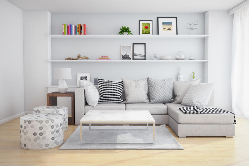 Download Living room stock image. Image of indoor, shelves, interior - 50769763