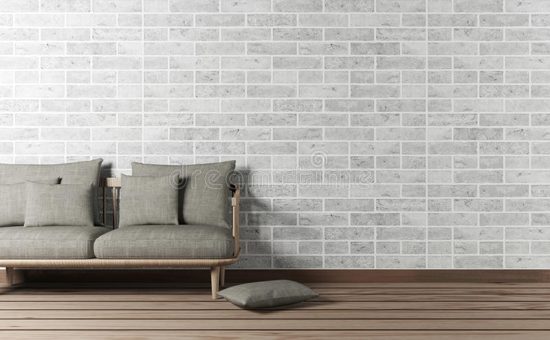 Living room interior with sofa and brick wall stock photography