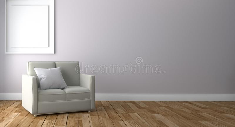 Living Room Interior with sofa and frame, wooden floor on empty white wall background. 3D rendering royalty free stock photography