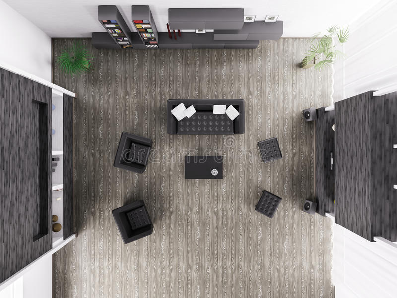 Living Room Interior Top View 3d Render Stock Photo
