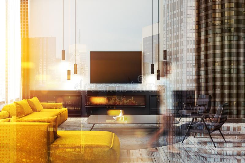 Living room interior with tv, woman royalty free stock images