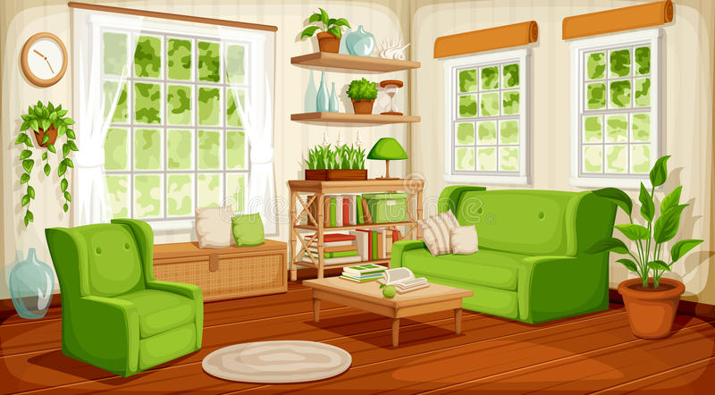 Living room interior. Vector illustration. Vector cozy living room interior with big windows, sofa, armchair and houseplants