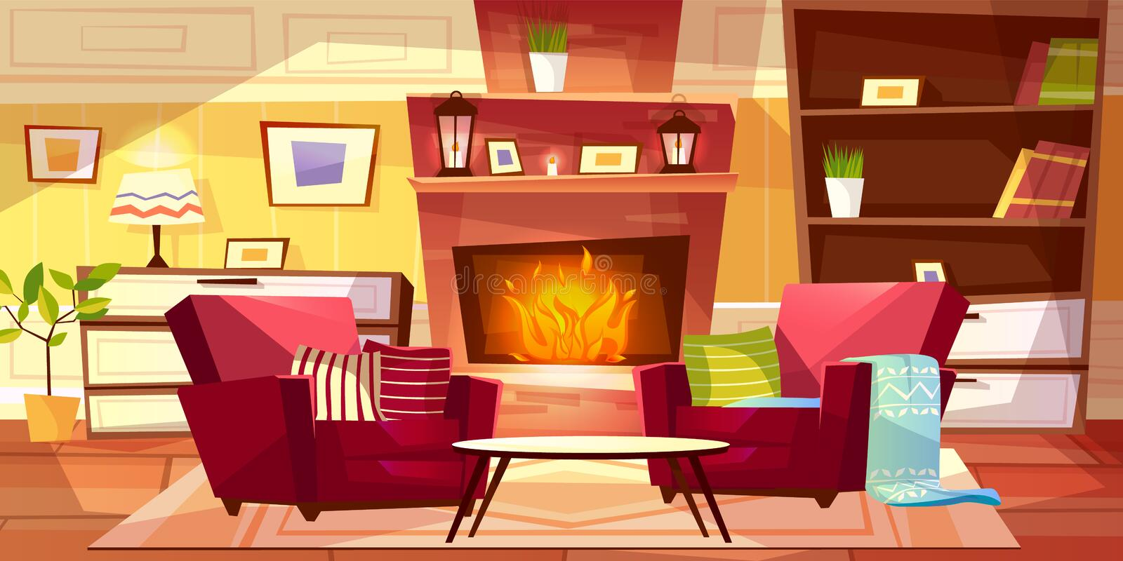 Living room interior vector illustration. Of cozy modern or retro apartments and furniture. Cartoon background of armchairs at fireplace, table and bookshelf royalty free illustration