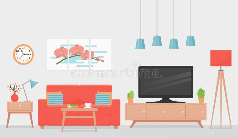 Living room interior. Vector illustration. Flat design. Living room interior. Vector. Room with sofa, TV, coffee table. House background with coral cushioned stock illustration
