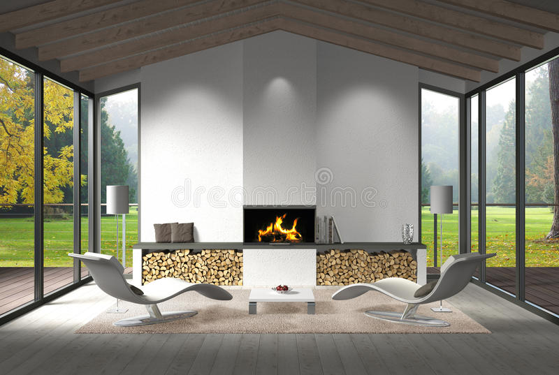 Living room interior with view to the garden in autumn. Fictitious 3D rendering of a modern living room interior with fire place and view to the garden royalty free stock photography