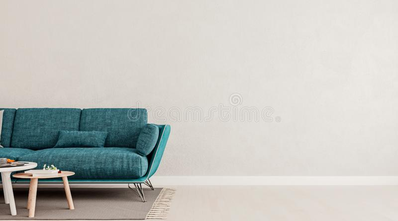 Living room interior wall mock up with teal blue sofa, empty white wall with free space on right stock illustration