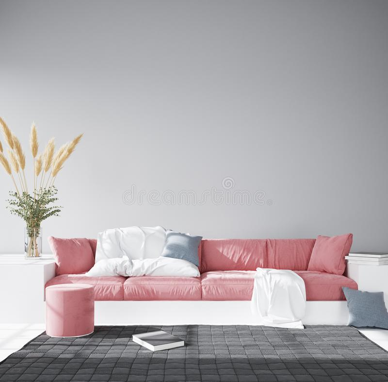 Living room interior wall mock up with velvet pink sofa and pillows. 3d render royalty free illustration