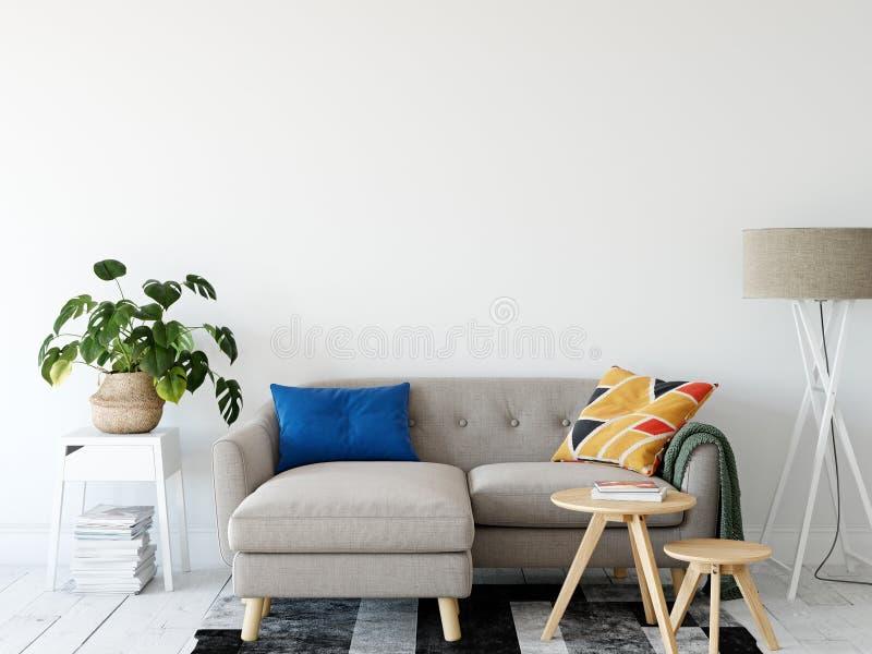 Living room interior. Wall mockup. Wall art. 3d rendering, 3d illustration. royalty free illustration