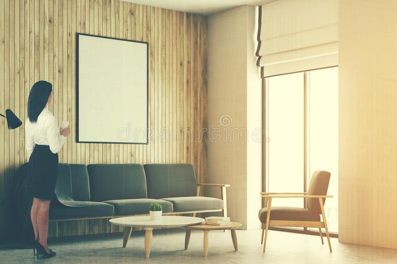 White And Wooden Loft Living Room, Poster Toned Stock Image - Image ...