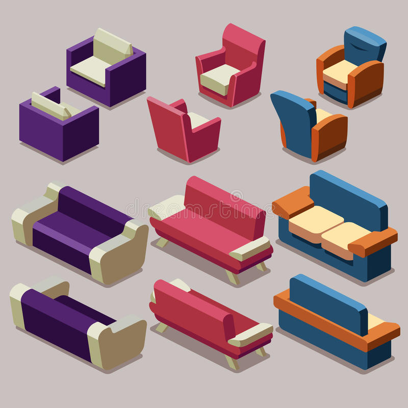 living room isometric furniture vector set sofa and