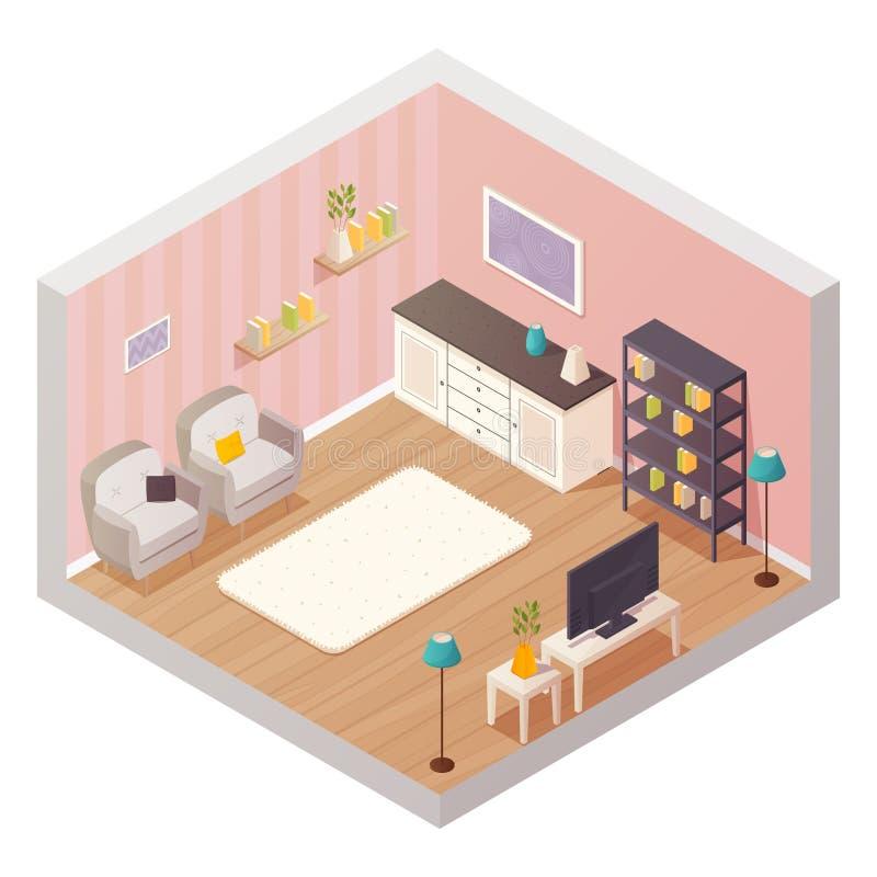 Vector Isometric Rooms Icon Stock Vector: Living Room Isometric Interior Stock Vector