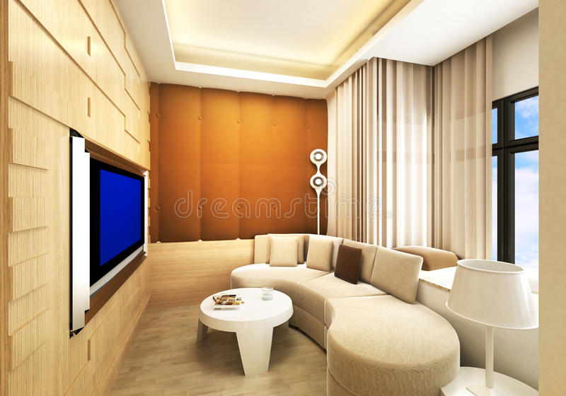 Living room / Karaoke room. Modern living room / Karaoke room design in 3D rendering stock illustration