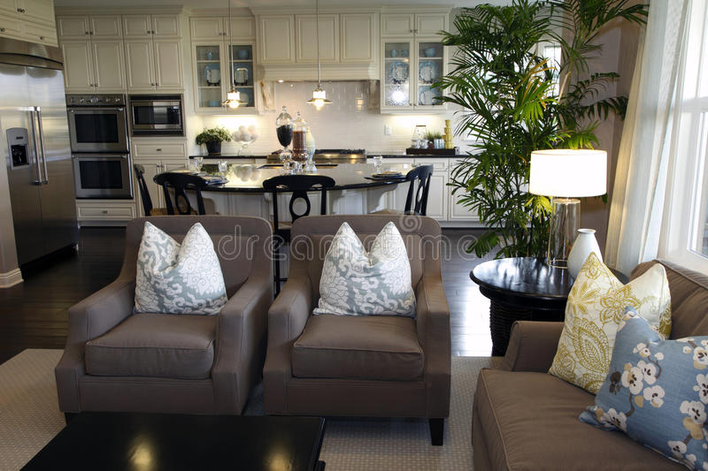 Living room and kitchen stock image