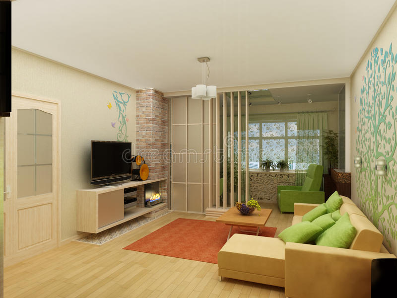 Download Living Room With Landscape View, 3D Interior Stock Image   Image:  56890327 Part 71