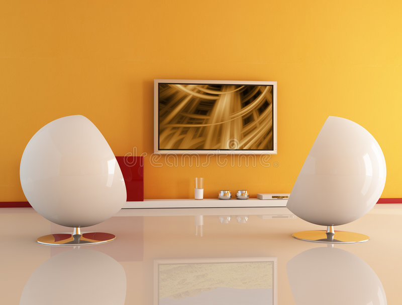 Living room with lcd tv. Two white armchair against lcd tv-the abstract composition on tv is a my image royalty free illustration