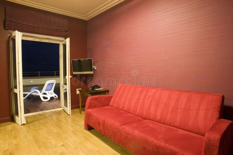 Living room leading to balcony stock images