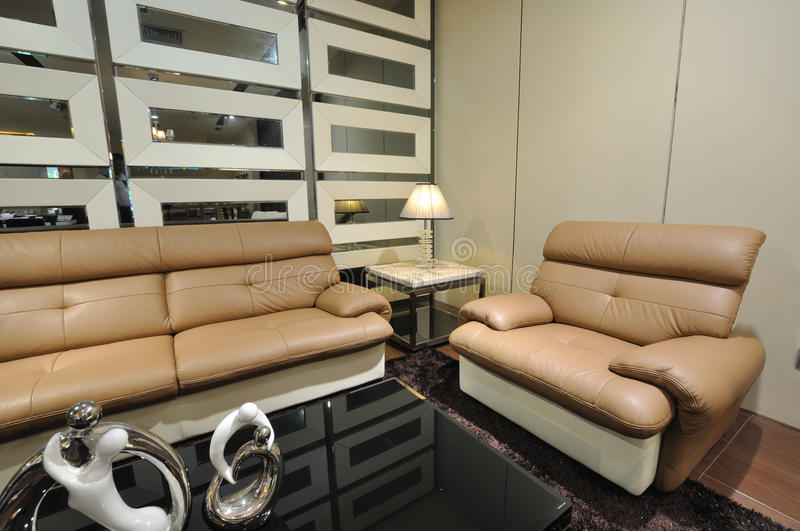 Living room and leather sofa
