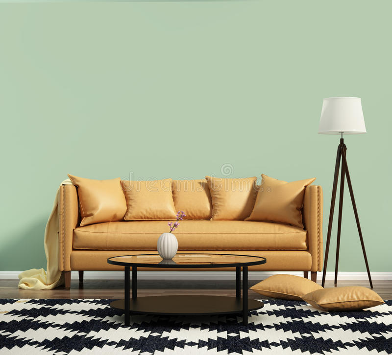 Living room with a leather sofa with green wall royalty free stock images
