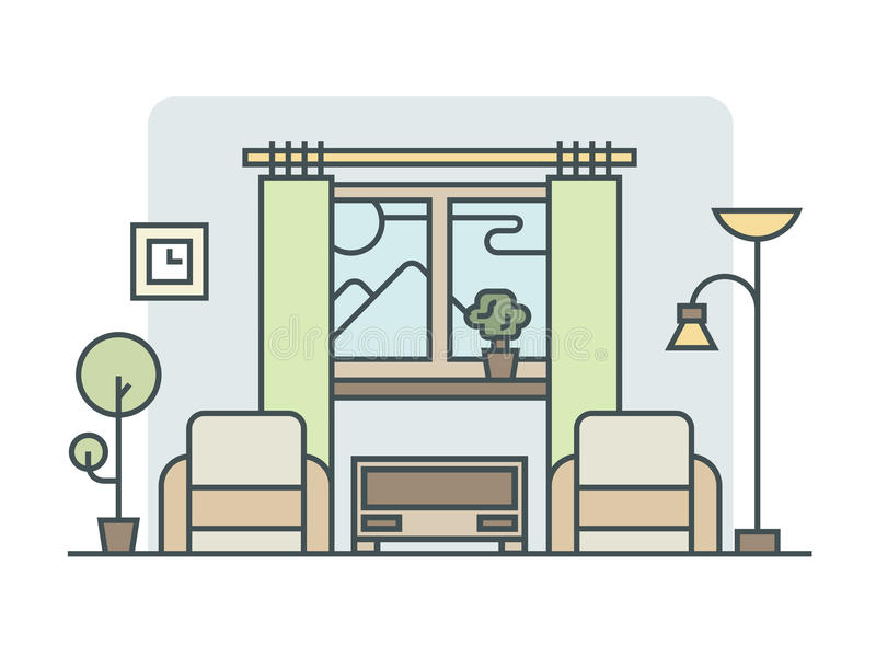 Living room linear style vector illustration