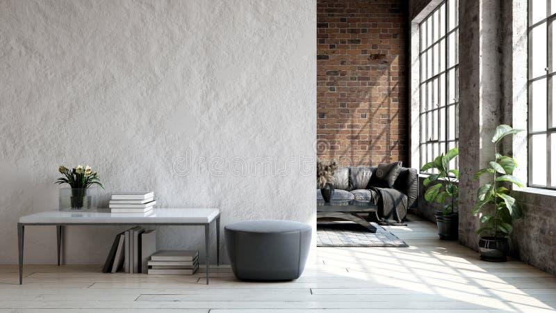 Living room loft in industrial style. 3d render stock image