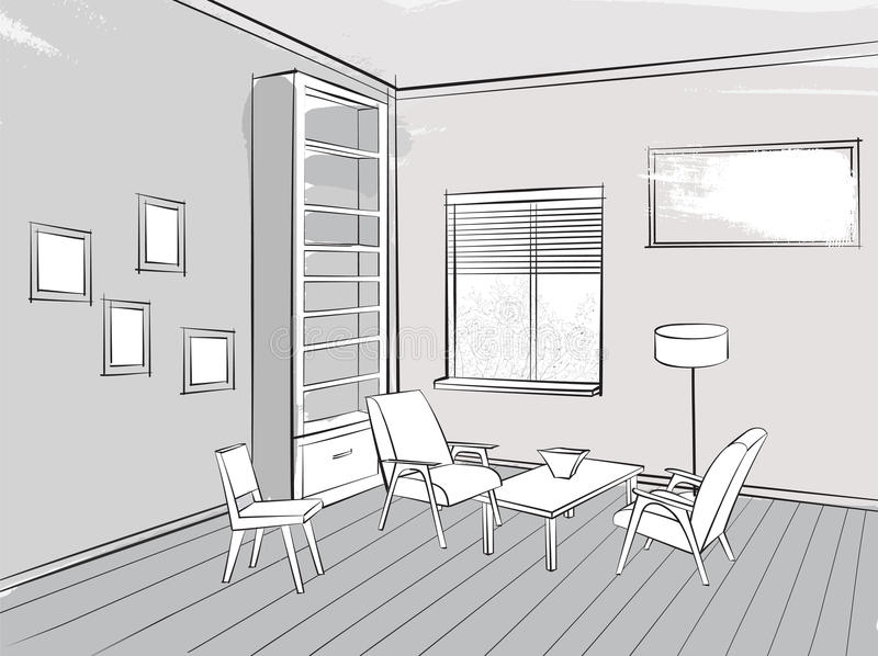Living room lounge interior sketch place for reading with armcha download living room lounge interior sketch place for reading with armcha stock photo image of malvernweather Image collections