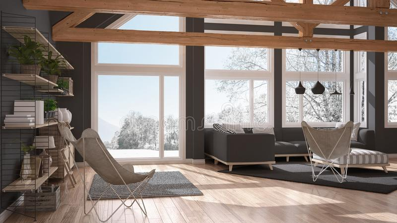 Living room of luxury eco house, parquet floor and wooden roof t royalty free illustration