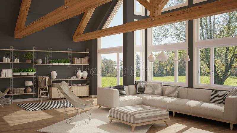 Living room of luxury eco house, parquet floor and wooden roof t vector illustration