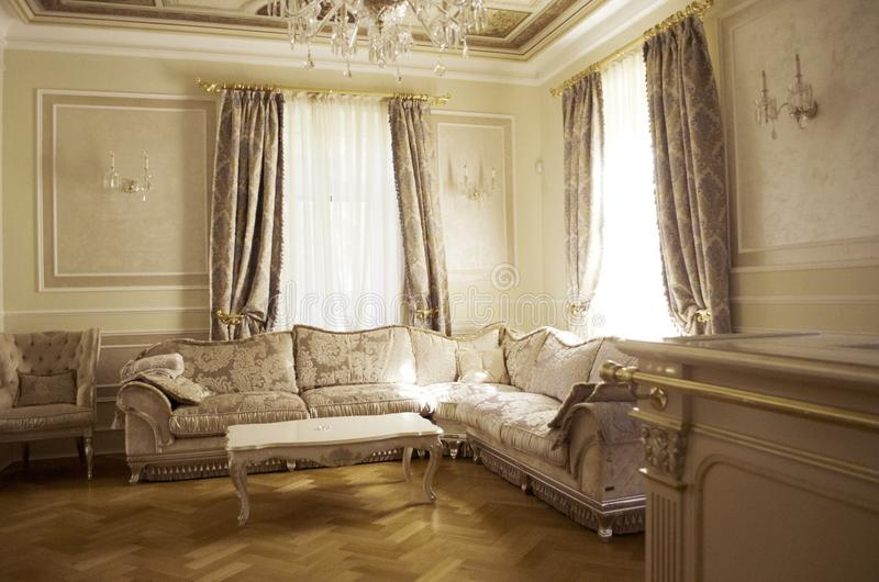 Living room with luxury furniture and decor stock photo