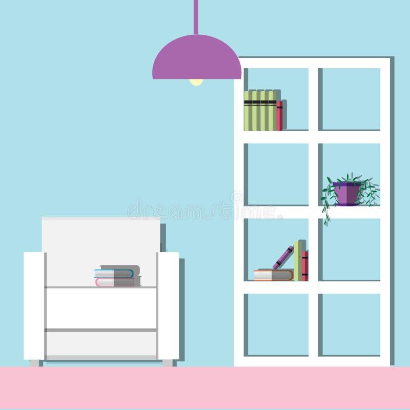 Living room Modern, Flat illustration. stock image
